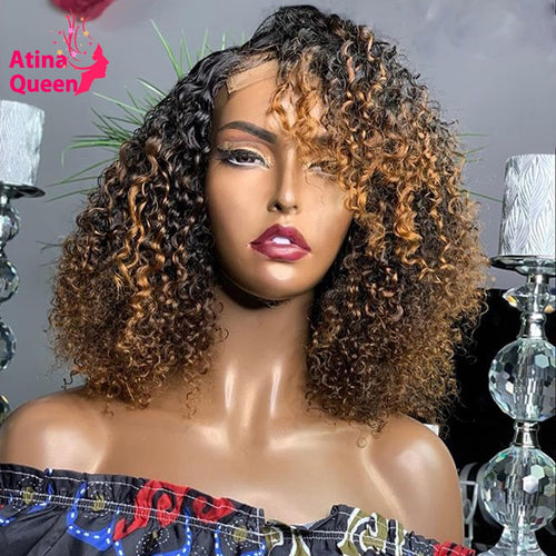 Curly Highlight Honey Blonde Lace Front Wigs