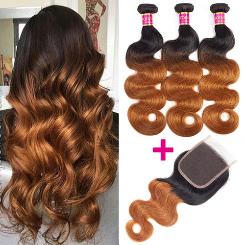 100% human hair Brazilian Body Wave Bundles With Closure
