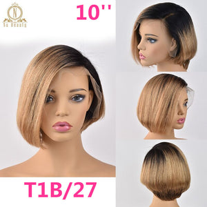 Lace Front 100% Human Hair Short Bob Wig