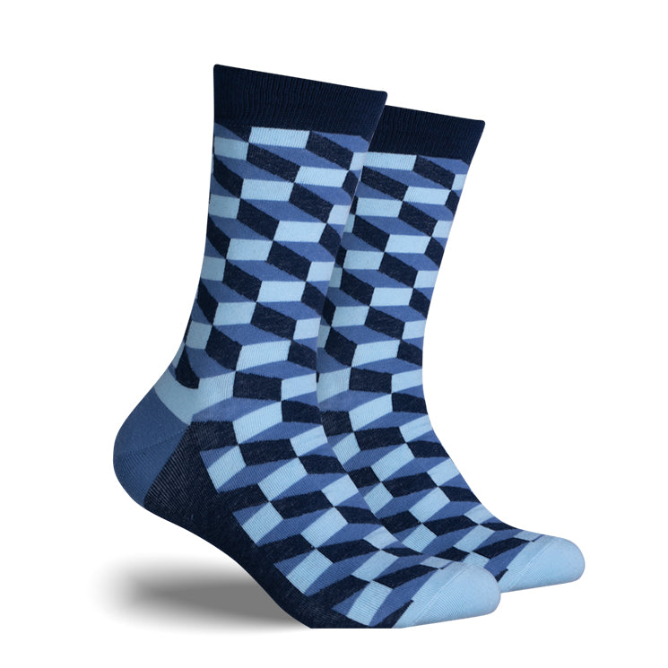 Blue, Light Blue, Black Checker | Cotton