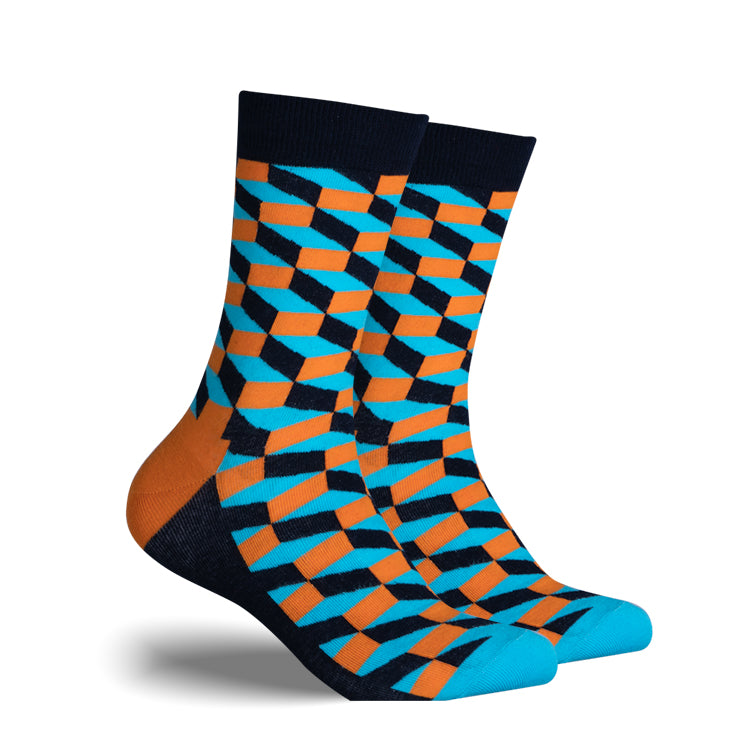 Blue, Orange, Black Checker | Cotton