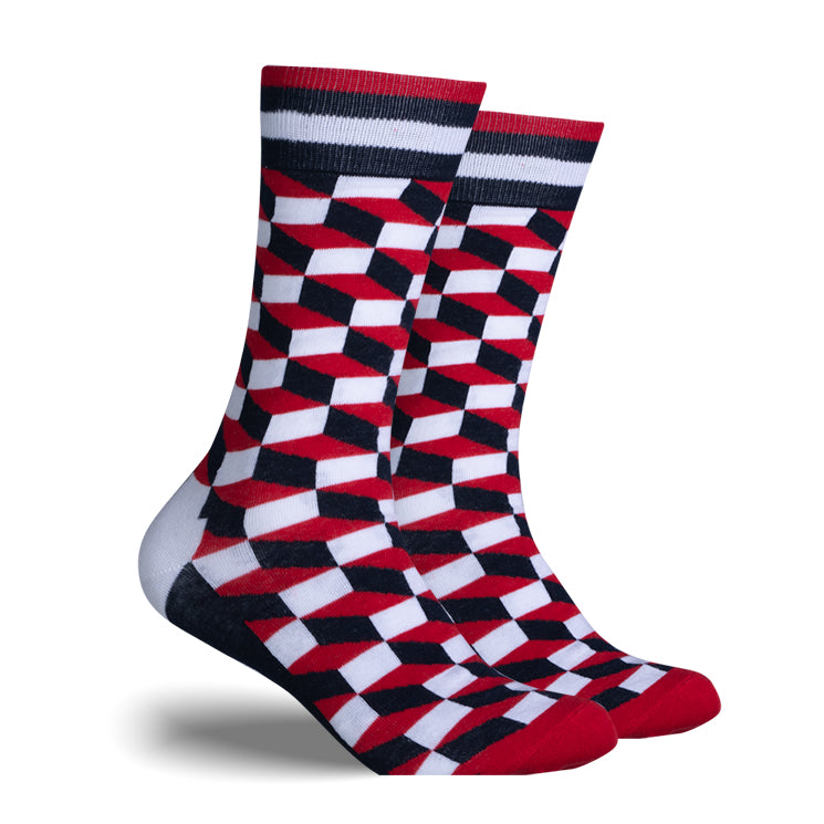 Red, Black & White Checker | Cotton