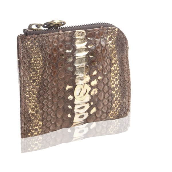 Small Square Zip-Around Python Wallet - Brown