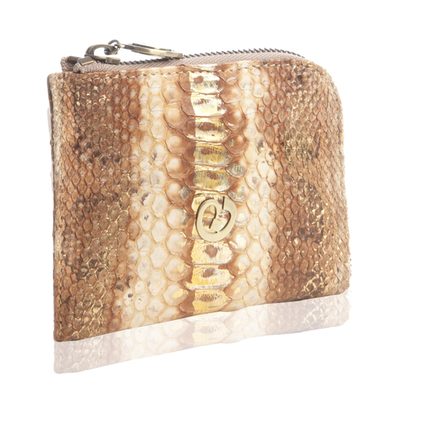 Small Square Zip-Around Python Wallet - Tan