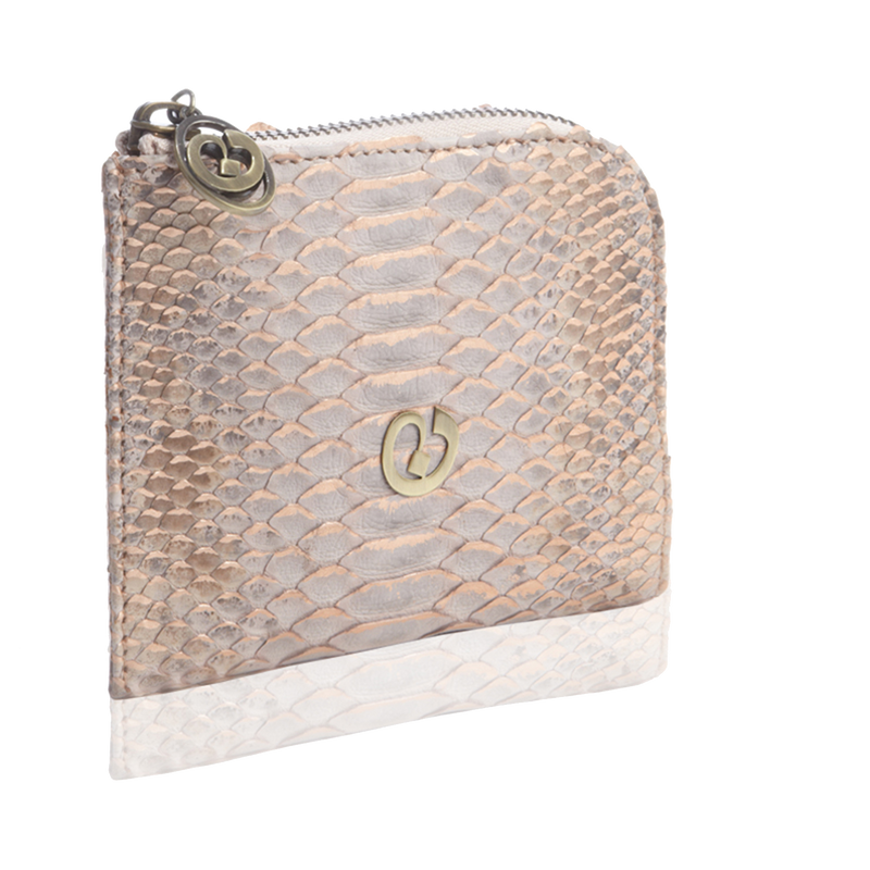 Small Square Zip-Around Python Wallet - Lavender