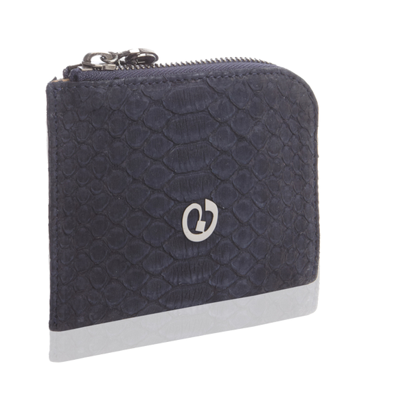Small Square Zip-Around Python Wallet - Navy