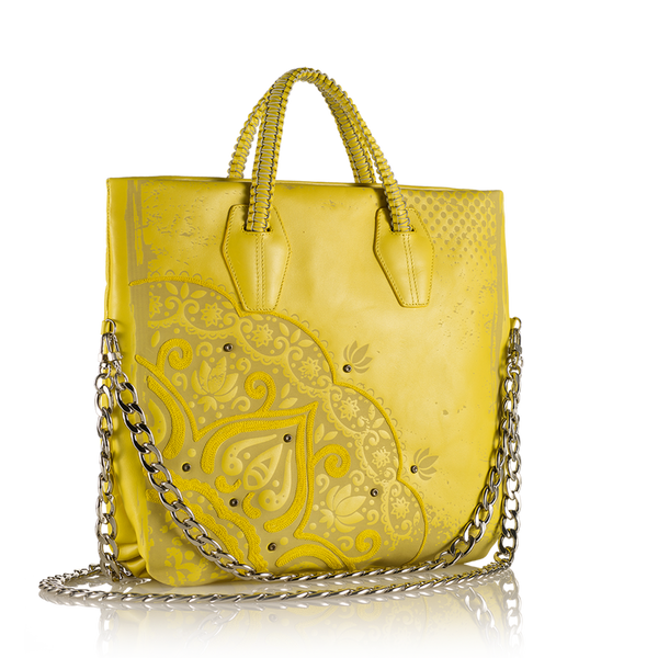 B Lula - Laser Cut and Embroidered Top Zip Tote Bag - Yellow