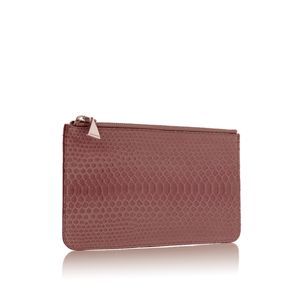 Python Top Zip Pouch - Brown Rose