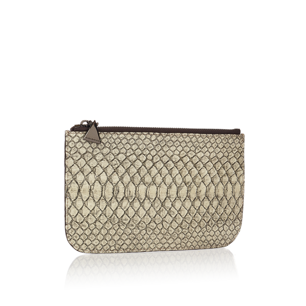 Python Top Zip Pouch - Black / Bone