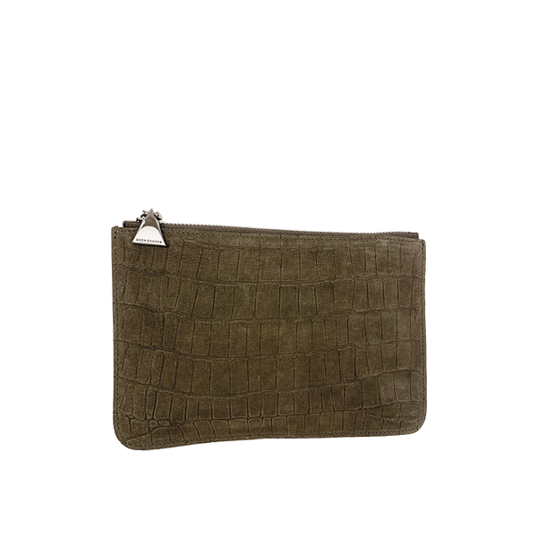 Embossed Leather Top Zip Pouch - Olive