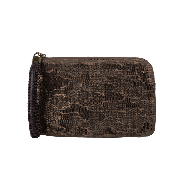 Olivia - Small Laser Cut Leather Wristlet Pouch - Camouflage Pattern - Bronze