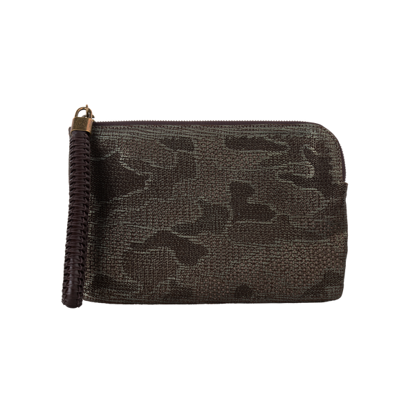 Olivia - Small Laser Cut Leather Wristlet Pouch - Camouflage Pattern - Metallic Green