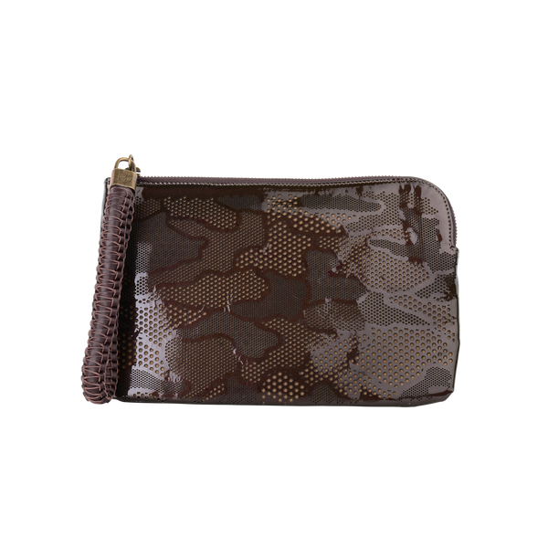 Olivia - Small Laser Cut Leather Wristlet Pouch - Camouflage Pattern - Brown