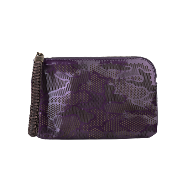 Olivia - Small Laser Cut Leather Wristlet Pouch - Camouflage Pattern - Purple