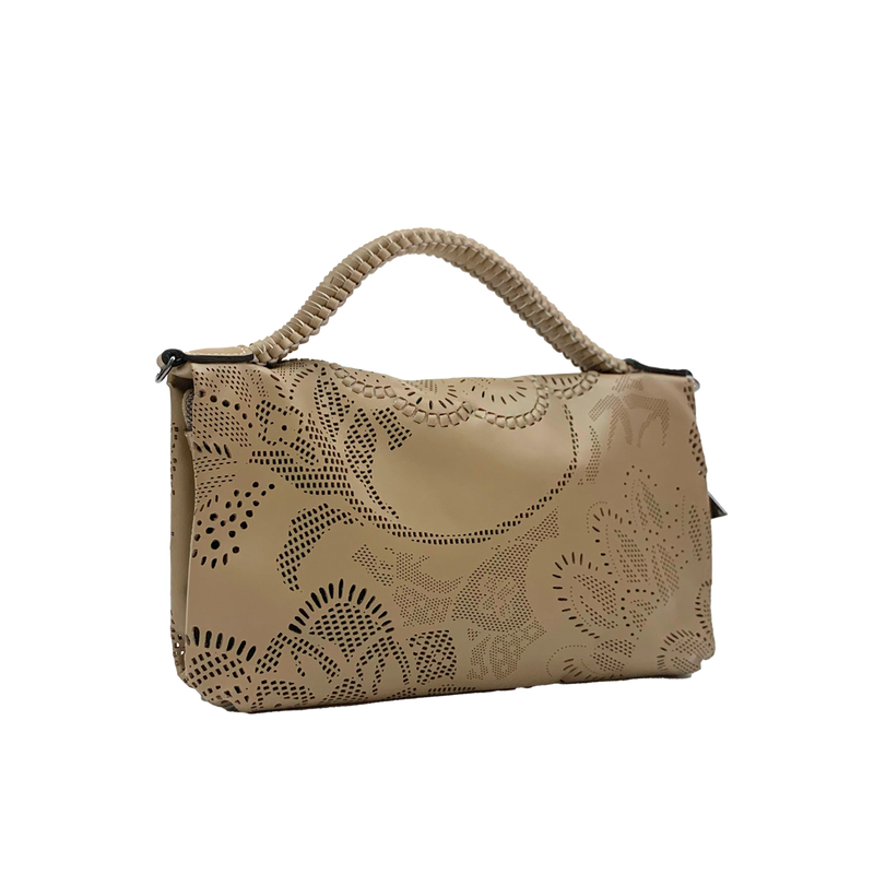 Bibi - Small Laser Cut Leather bag - Floral Pattern