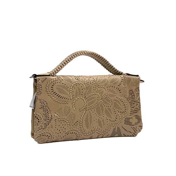 Bibi - Small Laser Cut Leather bag - Floral Pattern - Taupe
