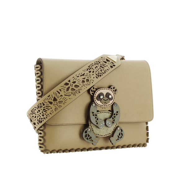Whimsical Laser Cut Leather Clutch - Kakhi
