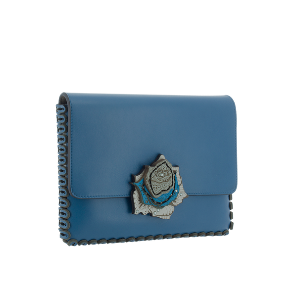 Whimsical Laser Cut Leather Clutch - Blue