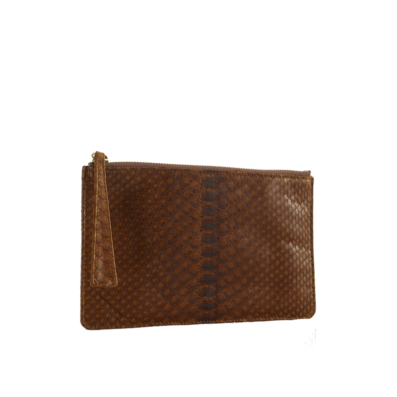 Python Top Zip Pouch - Tabacco