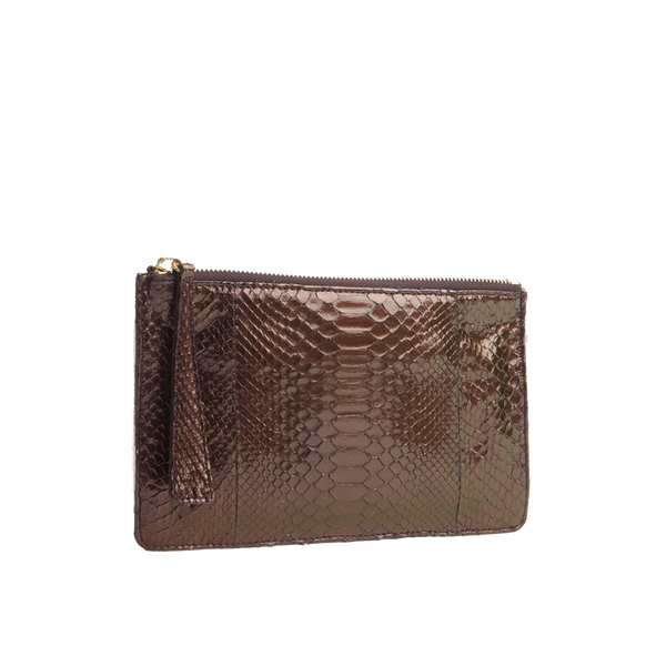Python Top Zip Pouch - Metallic Brown