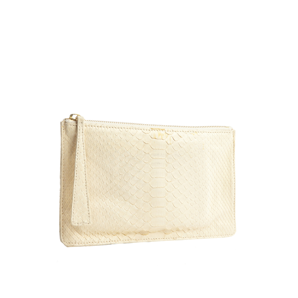 Python Top Zip Pouch - Off White