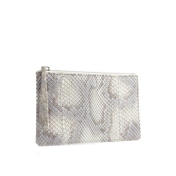 Python Top Zip Pouch - Off-White