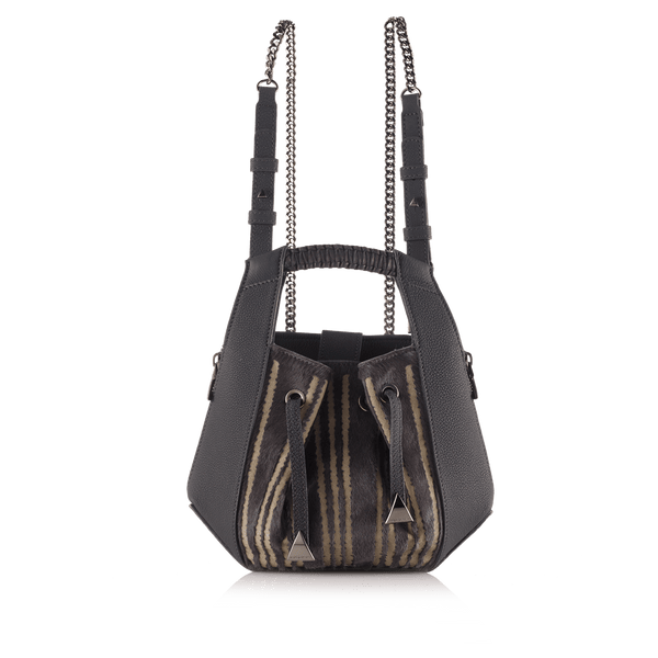FL by NADA SAWAYA Backpack Black Lynn - Small Laser Cut haircalf and Leather Backpack
