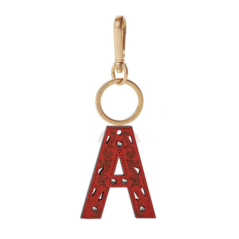 FL by NADA SAWAYA Bag Charm Large-A / Brass Gold / Red 1-Letter Laser Cut Leather Charm