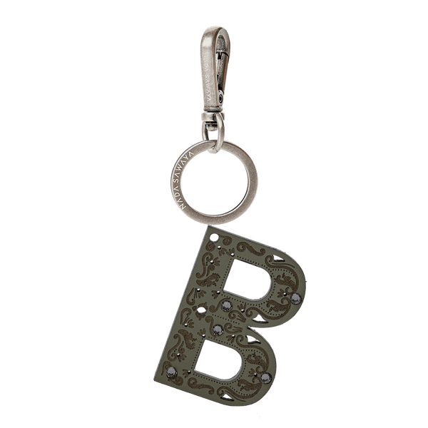 FL by NADA SAWAYA Bag Charm Large-B / Antic Silver / Dark Taupe 1-Letter Laser Cut Leather Charm
