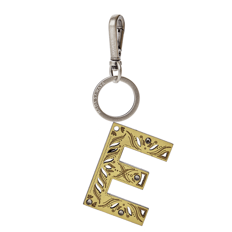 FL by NADA SAWAYA Bag Charm Large-E / Brass Gold / Yellow 1-Letter Laser Cut Leather Charm