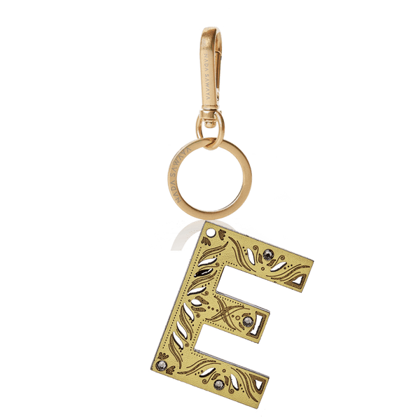 FL by NADA SAWAYA Bag Charm Large-E / Satin black nickel / Yellow 1-Letter Laser Cut Leather Charm