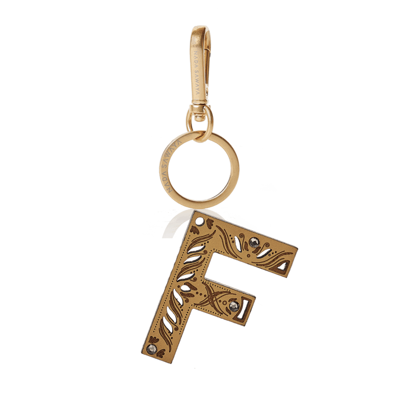 FL by NADA SAWAYA Bag Charm Large-F / Brass Gold / Tan 1-Letter Laser Cut Leather Charm