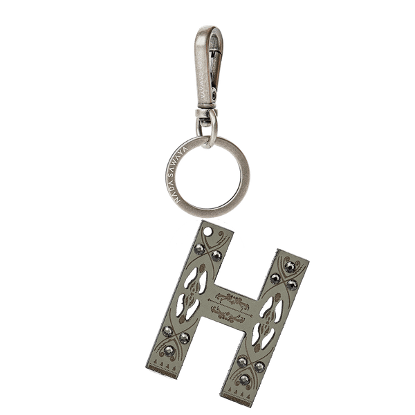 FL by NADA SAWAYA Bag Charm Large-H / Antic Silver / Grey Green 1-Letter Laser Cut Leather Charm
