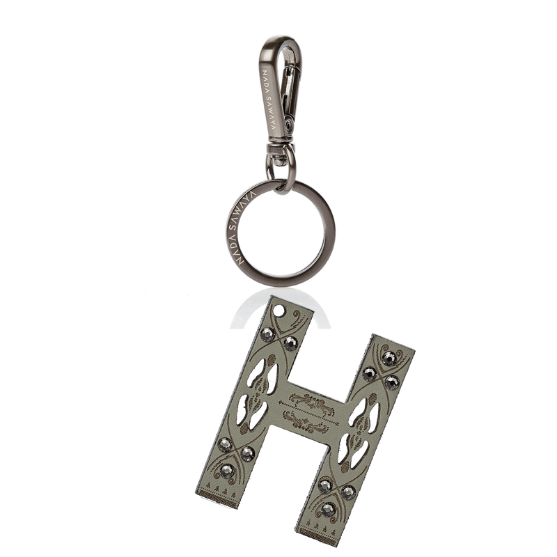 FL by NADA SAWAYA Bag Charm Large-H / Satin black nickel / Grey Green 1-Letter Laser Cut Leather Charm
