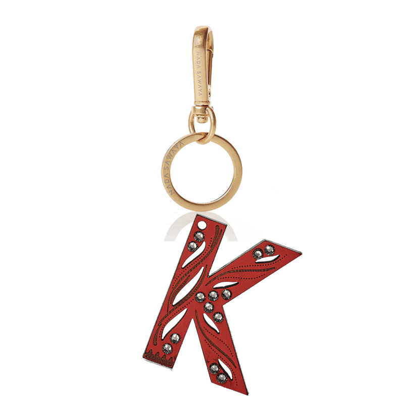 FL by NADA SAWAYA Bag Charm Large-K / Brass Gold / Red 1-Letter Laser Cut Leather Charm