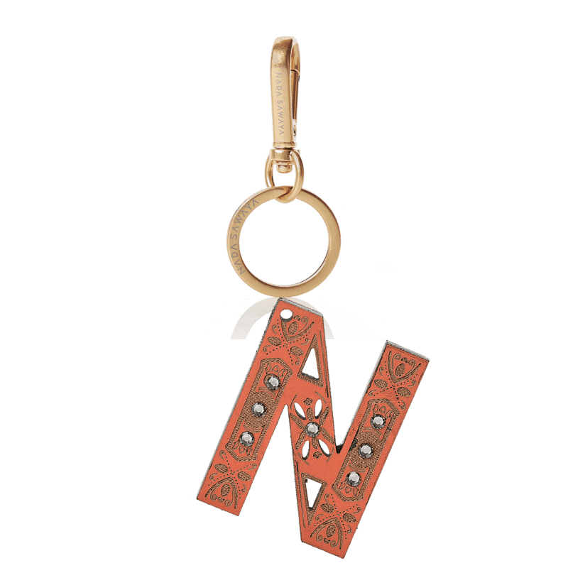 FL by NADA SAWAYA Bag Charm Large-N / Brass Gold / Coral 1-Letter Laser Cut Leather Charm