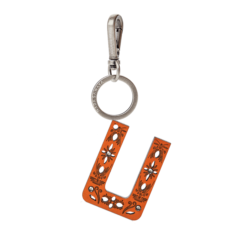 FL by NADA SAWAYA Bag Charm Large-U / Antic Silver / Orange 1-Letter Laser Cut Leather Charm
