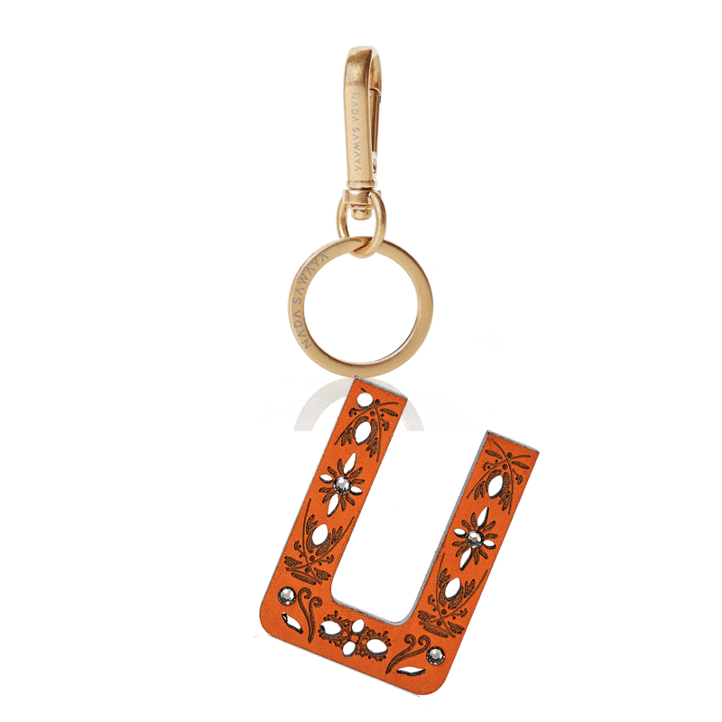 FL by NADA SAWAYA Bag Charm Large-U / Brass Gold / Orange 1-Letter Laser Cut Leather Charm