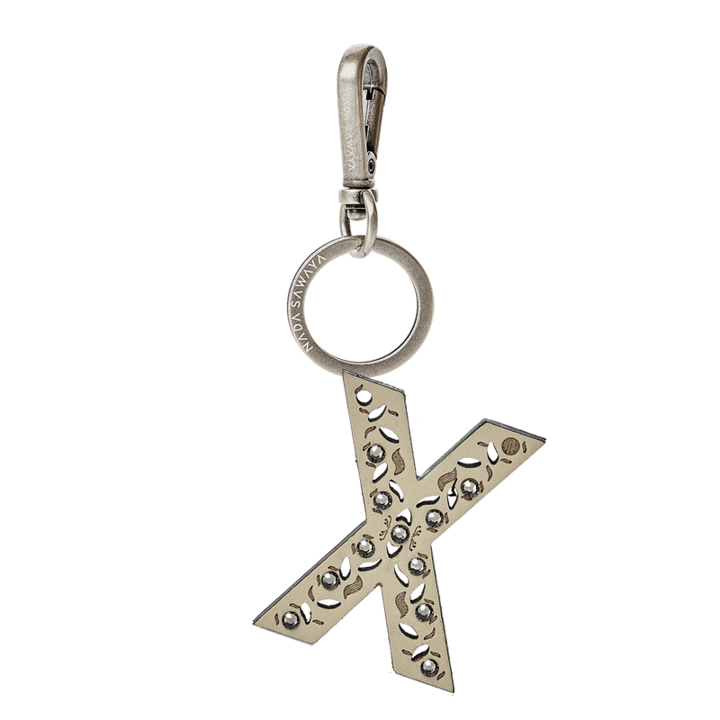 FL by NADA SAWAYA Bag Charm Large-X / Antic Silver / Cream 1-Letter Laser Cut Leather Charm