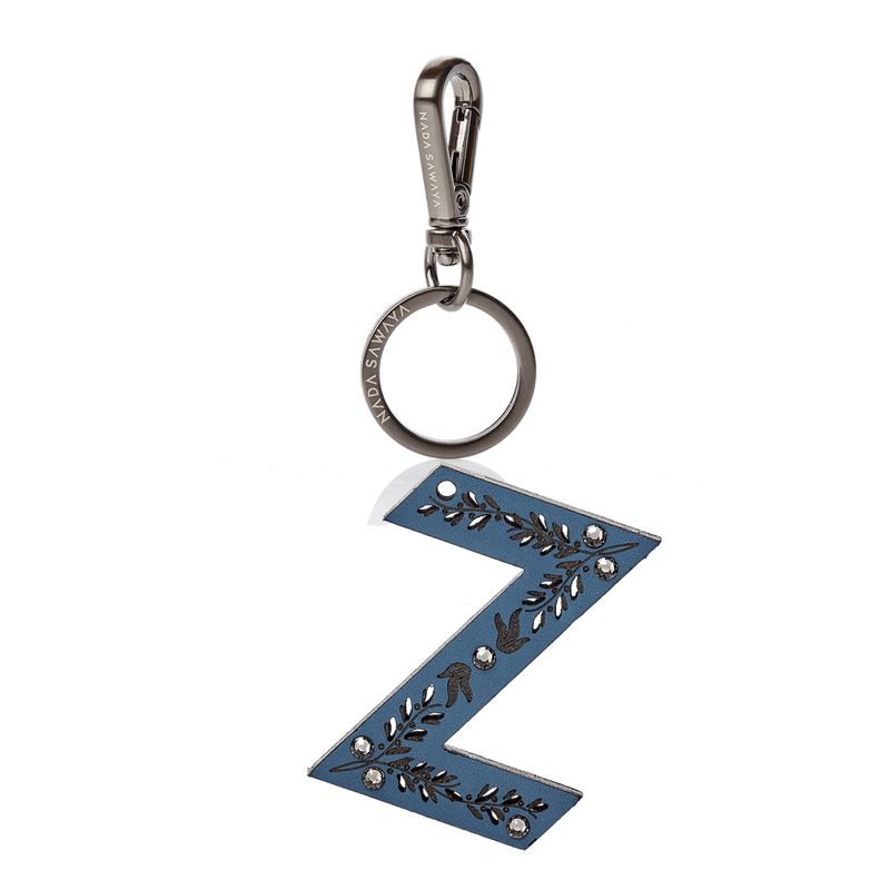 FL by NADA SAWAYA Bag Charm Large-Z / Satin black nickel / Blue Jeans 1-Letter Laser Cut Leather Charm