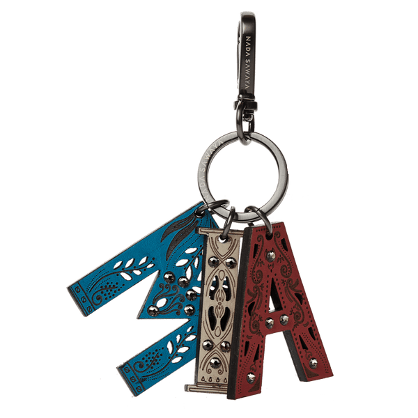 FL by NADA SAWAYA Bag Charm MIA / Satin black nickel / Multicolor 3-Letter Laser Cut Leather Charm