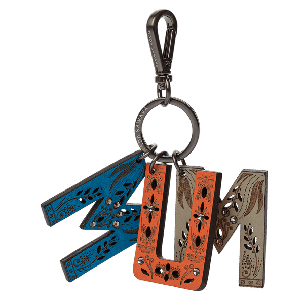 FL by NADA SAWAYA Bag Charm MUM / Satin black nickel / Multicolor 3-Letter Laser Cut Leather Charm