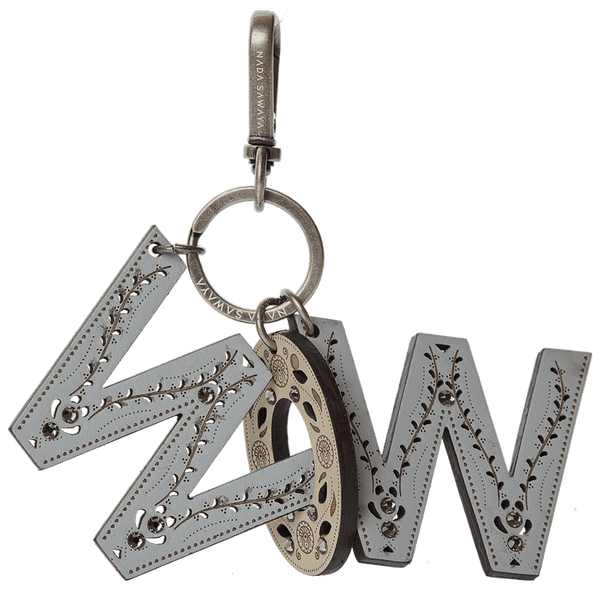 FL by NADA SAWAYA Bag Charm WOW / Antic Silver / Multicolor 3-Letter Laser Cut Leather Charm