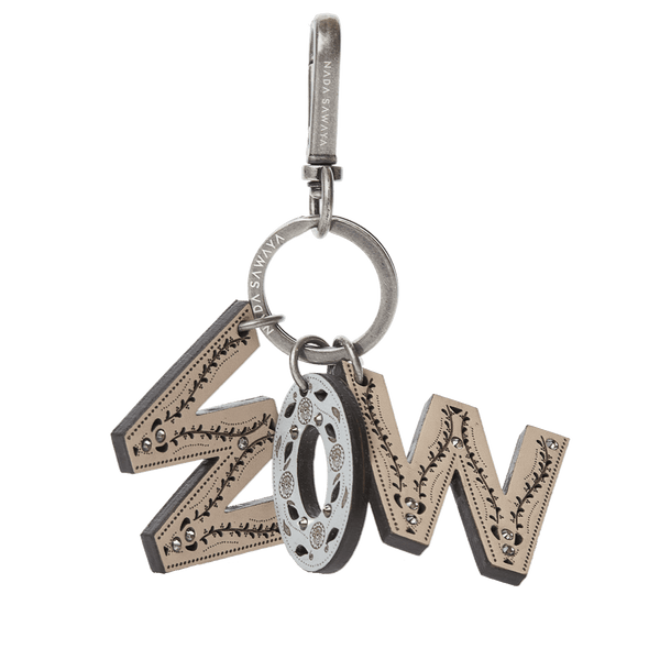 FL by NADA SAWAYA Bag Charm wow-s / Antic Silver / Multicolor 3-Letter Laser Cut Leather Charm