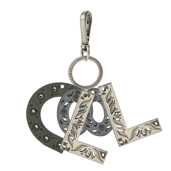 FL by NADA SAWAYA Bag Charm CooL-Grey / Antic Silver / Multicolor 4-Letter Laser Cut Leather Charm