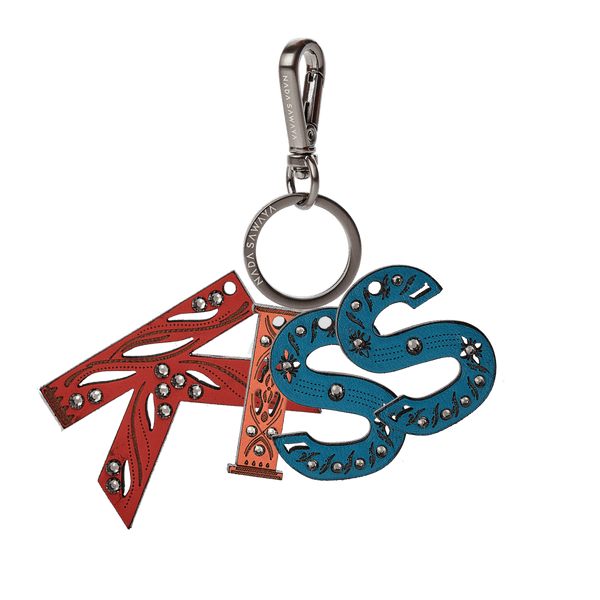 FL by NADA SAWAYA Bag Charm Kiss / Satin black nickel / Multicolor 4-Letter Laser Cut Leather Charm