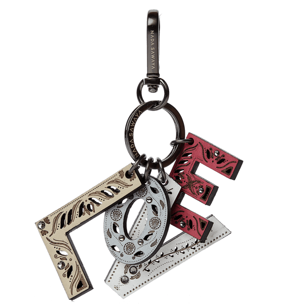 FL by NADA SAWAYA Bag Charm Love / Satin black nickel / Multicolor 4-Letter Laser Cut Leather Charm