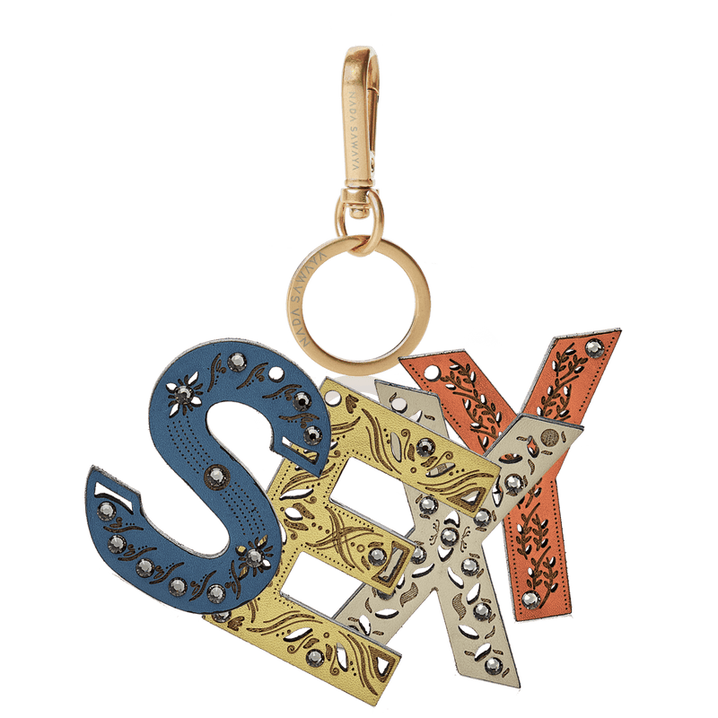 FL by NADA SAWAYA Bag Charm sExY / Brass Gold / Multicolor 4-Letter Laser Cut Leather Charm