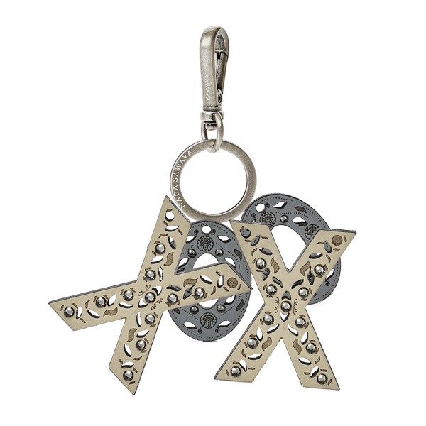 FL by NADA SAWAYA Bag Charm XoXo / Antic Silver / Multicolor 4-Letter Laser Cut Leather Charm