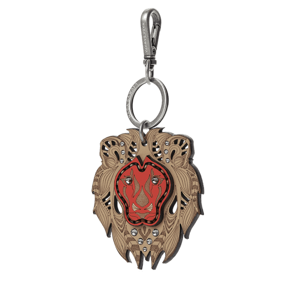 FL by NADA SAWAYA Bag Charm Tan / Red Lion Laser Cut Leather Charm